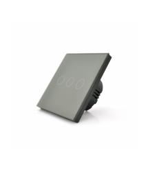 Сенсорный выключатель с заземлением + WiFi управление, трехканальный, gray, 86х86х35мм