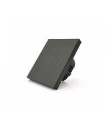 Сенсорный выключатель с заземлением + WiFi управление, трехканальный, черный, 86х86х35мм