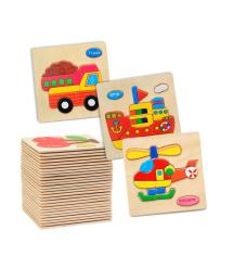 Деревянные цветные пазлы Транспорт