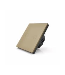 Сенсорный выключатель с заземлением + WiFi управление, двухканальный, gold, 86х86х35мм