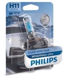 Лампа галогенная Philips H11 WhiteVision Ultra +60%, 4000K, 1шт/блистер