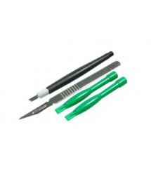 Набор инструментов BAKKU BK-7280-B (2 скальпеля + 2 пластиковые лопатки для разборки корпусов), Blister
