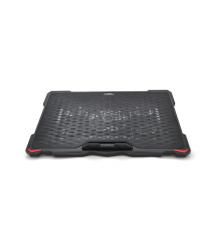 Подставка под ноутбук DCX-035, 9-17, 5*150mm BLUE LED 150010% RPM, корпус пластик, 2xUSB 2.0, 370x265x35mm, Black, Box Q20