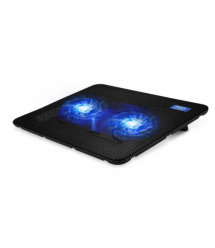 Подставка под ноутбук Pccooler N130, 10-14, 2*90mm BLUE LED 120010% RPM, корпус пластик, 2xUSB 2.0, 330x250x25mm, Black, Box Q30