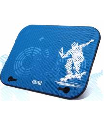 Подставка под ноутбук Pccooler V18, 10-14, 2*130mm BLUE LED 100010% RPM, корпус пластик, 2xUSB 2.0, 340x255x21mm, Blue, Box Q30