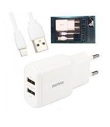 ЗУ сетевое Remax SET RP-U22 PRO 2.4A 2*USB + кабель Lightning 220V(EU) White