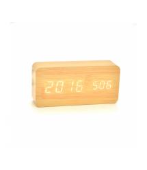 Электронные прямоугольные часы с будильником, бежевые
