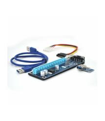 Riser PCI-EX, x1-x16, 4-pin MOLEX, SATA-4Pin, USB 3.0 AM-AM 0,6 м (синий) , конденсаторы F270, Пакет