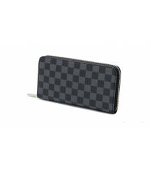 Черный кожаный кошелек, унисекс, прямоугольный, четыре отделения
