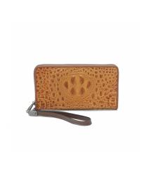 Светло-коричневый кошелек из крокодиловой кожи, мужской, прямоугольный, с ремешком, пять отделений