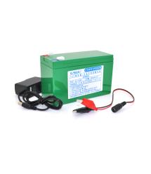 Аккумуляторная батарея литиевая QSuo 12V 8A с элементами Li-ion 18650 (150X64,5X97,7) + зарядное устройство 12,6V - 1A + крокоди