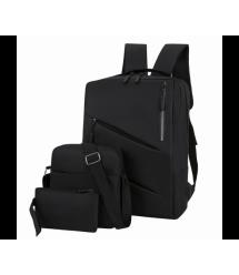 Набор из Рюкзака для ноутбука ,сумки и кошелька 15.6, материал нейлон, выход под USB-кабель, черный, Q80