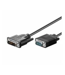Кабель VGA (папа)-DVI-I (папа)(24+5) 1.5метра круглый черный Q150
