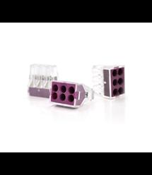 Клемма с зажимом 6-проводная WAGO K773-106 для распределительных коробок, 6-pin, прозрачно-фиолетовая