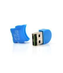 Кардридер внешний USB 2.0, формат MicroSD, пластик, Blue, (Техпакет)