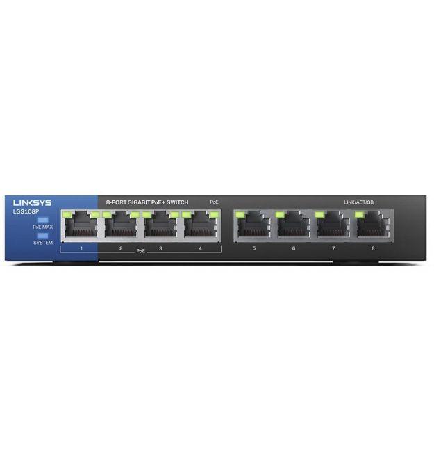 Linksys LGS108P Switch 4xGE PoE+, 4xGE, unmanaged