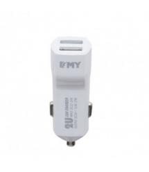 Набор 2 в 1 АЗУ With Iphone Cable DC12-24V MY-30, 2 x USB, 5V - 12W, Белый