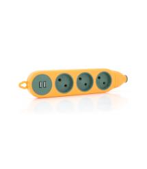Колодка для удлинителя 3 гнезда+2USB без заземления 16A 220V, Orange, Q100