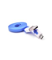 Кабель USB 2.0 (AM - Miсro 5 pin) 1,0м, (плоский) Blue, OEM
