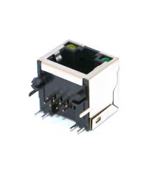 Сетевой разъем RJ45 экранированный с интерфейсом 8P8C под пайку, с индикацией, разъем 16H, Silver