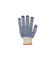 Перчатки ХБ синяя точка односторонняя трикотажная пар в упак. цена за пару.