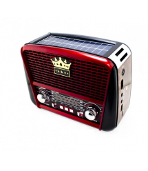 Радиоприемник GOLON RX-455S SOLAR, LED,3W, FM радио, Входы microSD, USB, AUX, корпус паласмасс, Black - Red, BOX