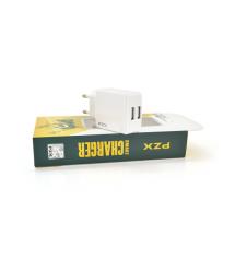 СЗУ 110-240V PZX P110, 2xUSB, 3.1A, White, Blister-box