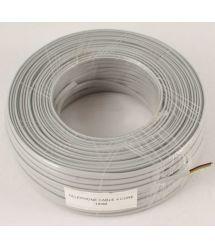 Телефонный кабель 4-жилы., плоский, медный, серый