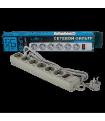 Сетевой фильтр 6 розеток 3,0 м серый (LP-X6)