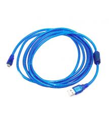 Кабель USB 2.0 (AM - Miсro 5 pin) 5м, прозрачный синий, Пакет