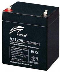 Аккумуляторная батарея AGM RITAR RT1250B, Black Case, 12V 5.0Ah ( 90 х70 х 101 (107) ) Q10