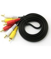 Кабель Audio-Video 3хRCA (папа) 3хRCA (папа), GOLD connector, CU, круглый, Black, 1,5 м, (Пакет) Q500