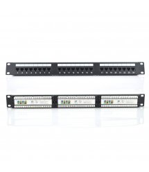 """Патч-панель RITAR 24 порта UTP DUAL кат 5Е 19"""" 1U не экранированная черная, с задним организатором кабеля Q25"""