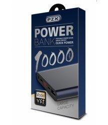 Power bank 10000mAh PZX-V68, USB-2.1A + 1A + кабель USB micro, LED фонарик, Grey, Blister-BOX